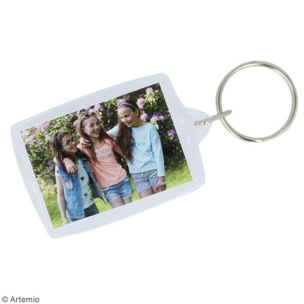Porte-clé Rectangle transparent pour photo - 4 x 5,5 cm - 4 pcs - Photo n°2