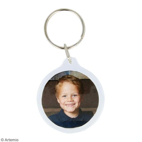 Porte-clé Rond transparent pour photo - 4,3 cm - 4 pcs - Photo n°2