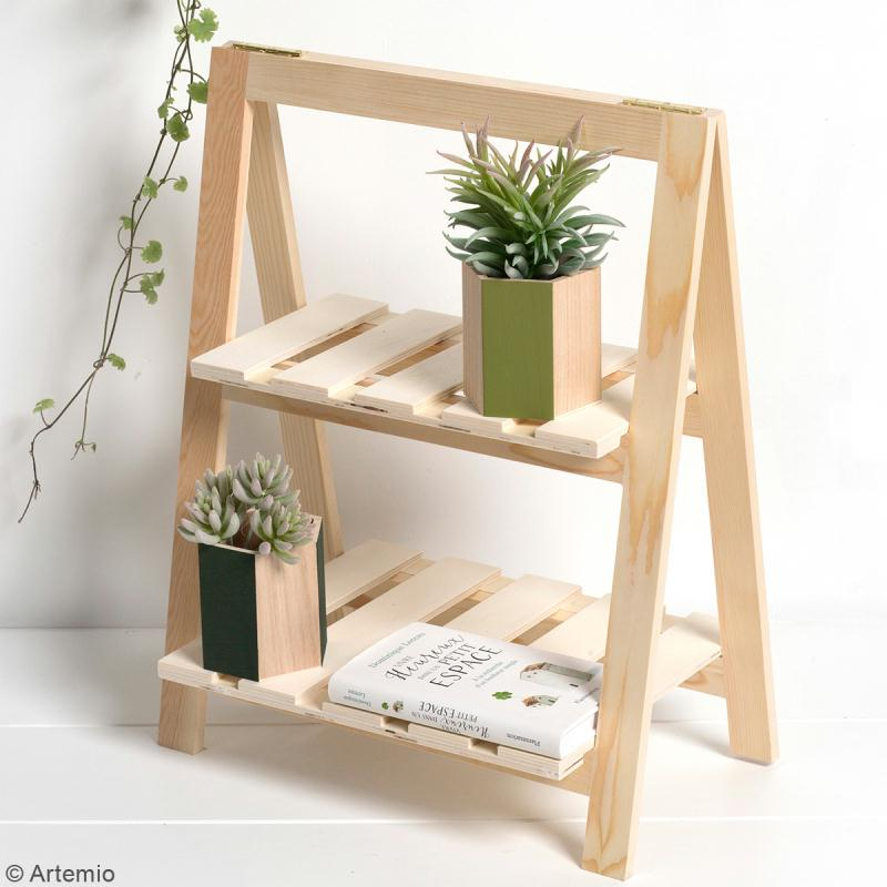 etag re plantes en bois d corer 2 niveaux 25 x 41 x 51 cm meuble d corer creavea. Black Bedroom Furniture Sets. Home Design Ideas