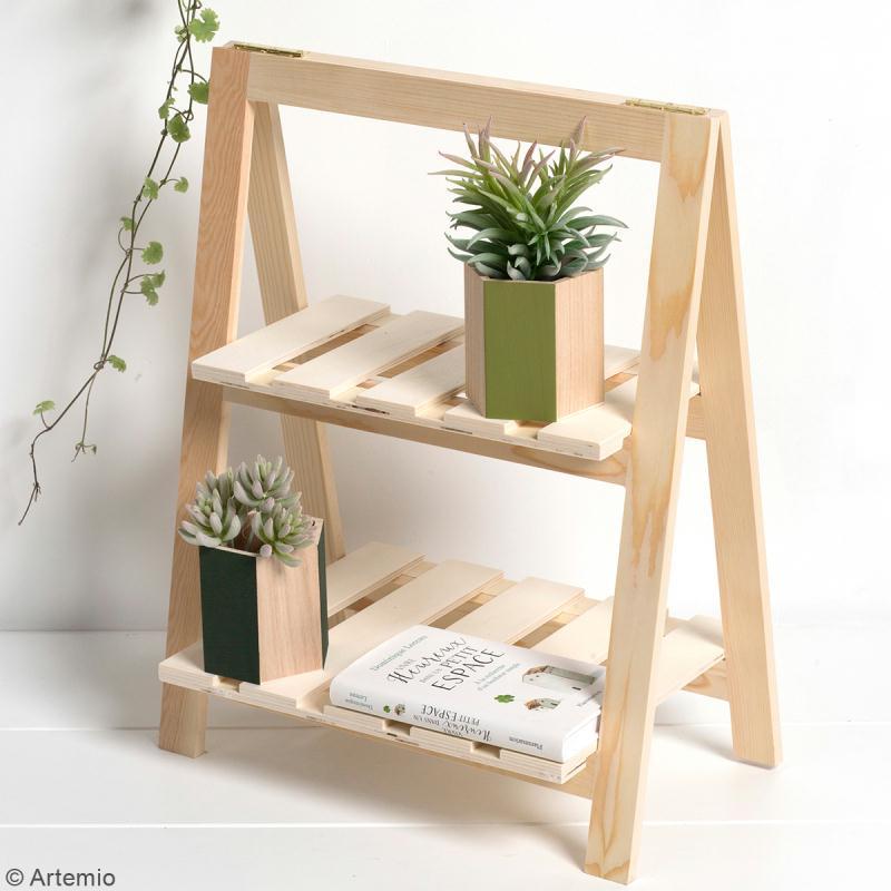 Etagère à plantes en bois à décorer - 2 niveaux - 25 x 41 x 51 cm - Photo n°3