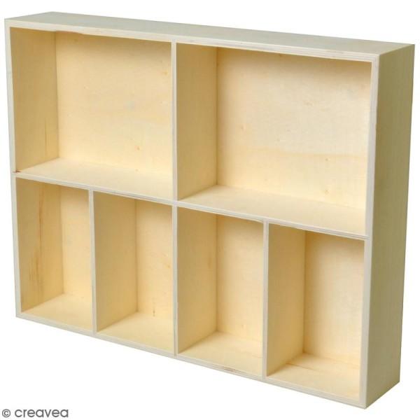 Etagère à cases - 6 compartiments - 31 x 40 x 7 cm - Photo n°1