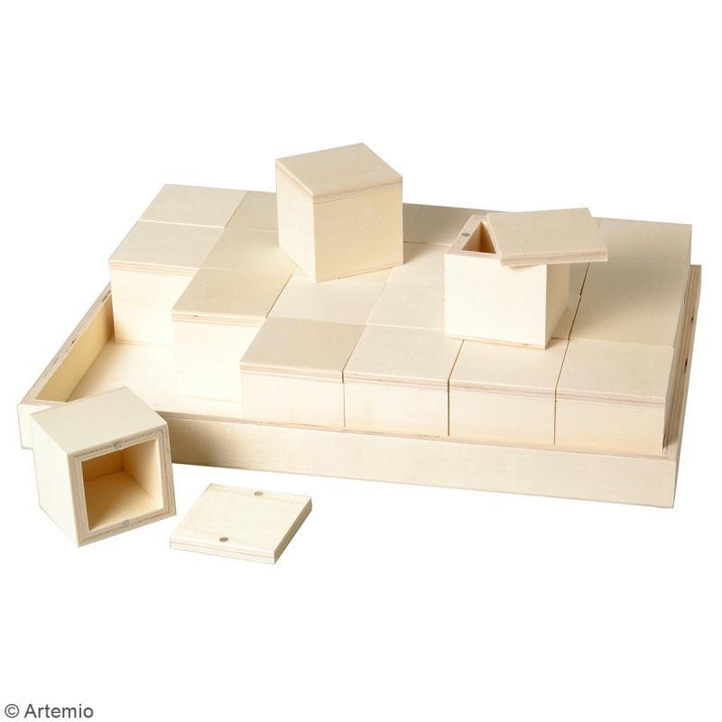 Set plateau et 24 boîtes en bois à décorer - 31 x 21 cm - Photo n°3