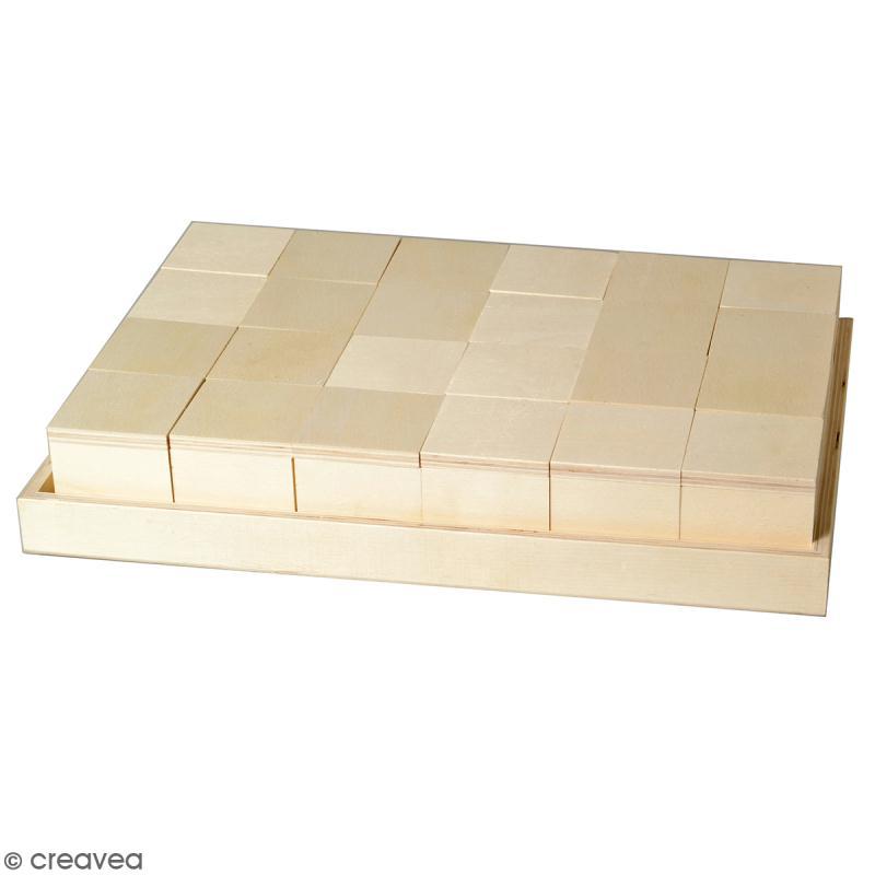 Set plateau et 24 boîtes en bois à décorer - 31 x 21 cm - Photo n°1