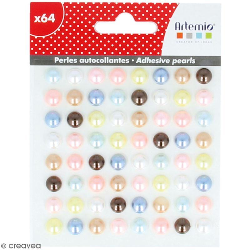 Demi-perles adhésives Adorable - Multicolore - 64 pcs - Photo n°1