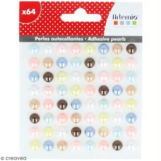 Demi-perles adhésives Adorable - Multicolore - 64 pcs
