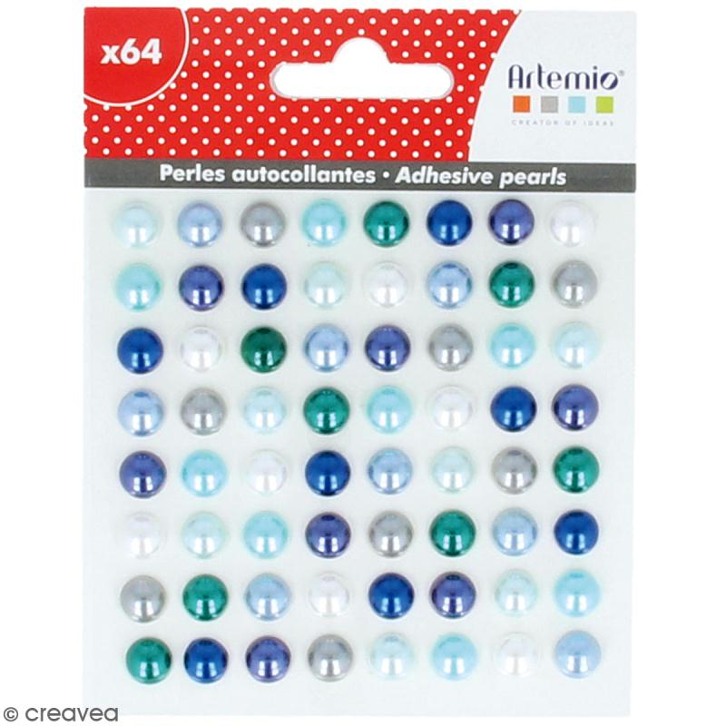 Demi-perles adhésives - Bleu - 64 pcs - Photo n°1