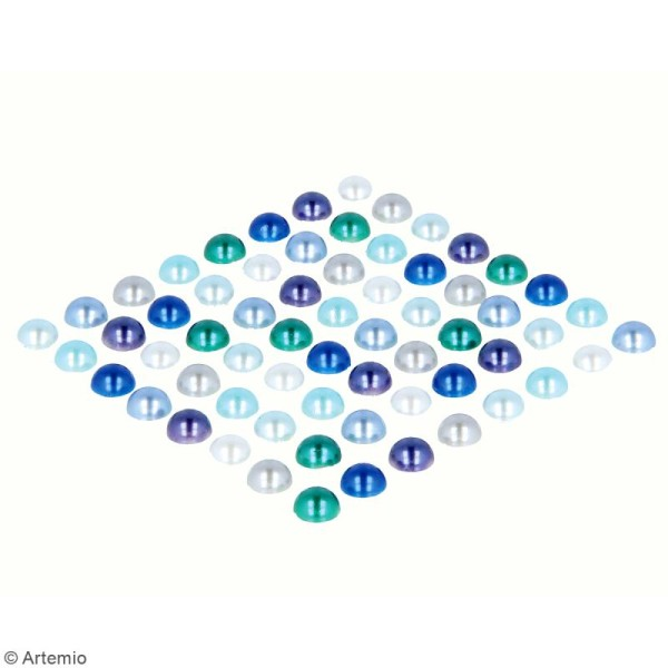Demi-perles adhésives - Bleu - 64 pcs - Photo n°2