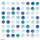 Demi-perles adhésives - Bleu - 64 pcs - Photo n°3