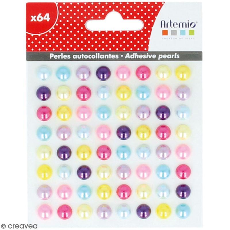 Demi-perles adhésives - Multicolore - 64 pcs - Photo n°1