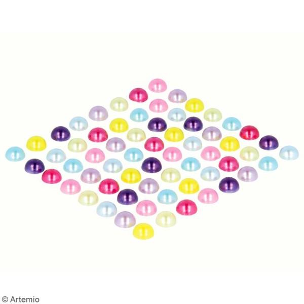 Demi-perles adhésives - Multicolore - 64 pcs - Photo n°2