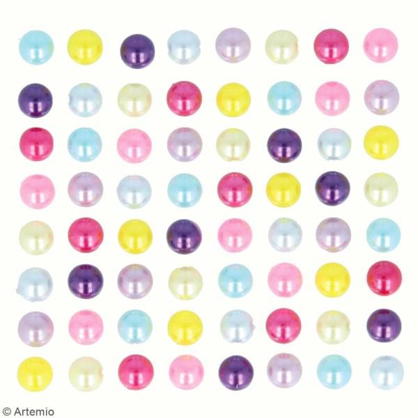 Demi-perles adhésives - Multicolore - 64 pcs - Photo n°3