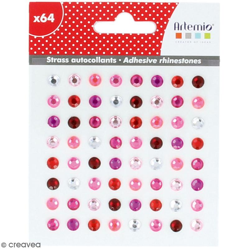 Strass autocollants - Rose - 64 pcs - Photo n°1