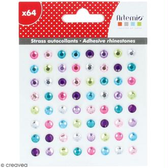 Strass autocollants - Multicolore - 64 pcs