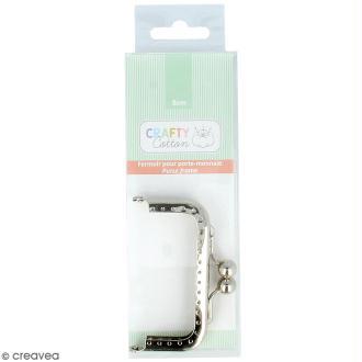 Fermoir rectangulaire porte-monnaie Crafty cotton - Argenté - 7,5 cm