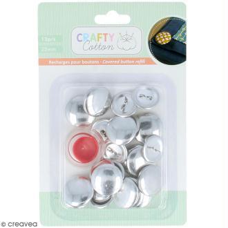 Boutons à recouvrir en métal et outil Crafty cotton - 22 mm - 12 pcs