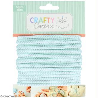Fil de tricotin Crafty cotton - Bleu clair - 5 mm x 5 m