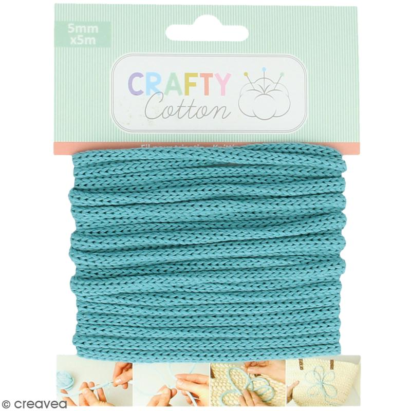 Fil de tricotin Crafty cotton - Bleu sarcelle - 5 mm x 5 m - Photo n°1