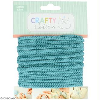 Fil de tricotin Crafty cotton - Bleu sarcelle - 5 mm x 5 m