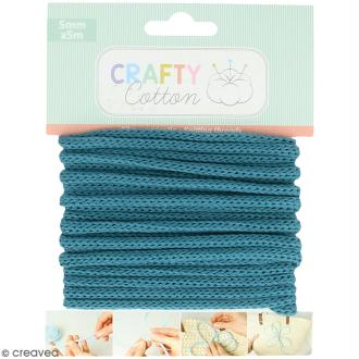 Fil de tricotin Crafty cotton - Bleu pétrole - 5 mm x 5 m