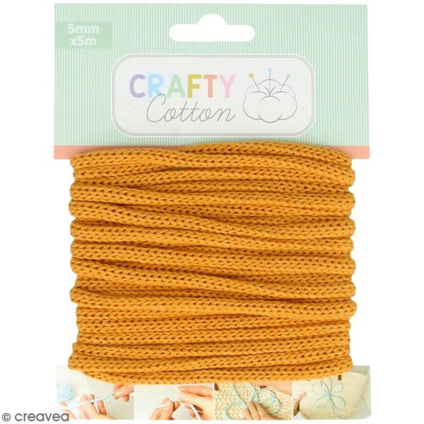 Fil de tricotin Crafty cotton - Ocre - 5 mm x 5 m - Photo n°1