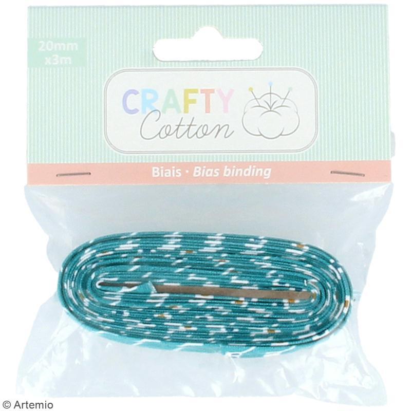 Coupon de biais Crafty cotton - Losanges sur fond bleu pétrole - 20 mm x 3 m - Photo n°2