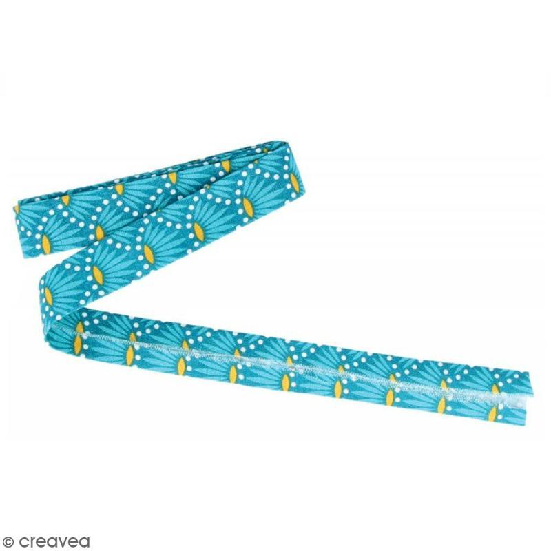 Coupon de biais Crafty cotton - Fleurs sur fond bleu pétrole - 20 mm x 3 m - Photo n°1