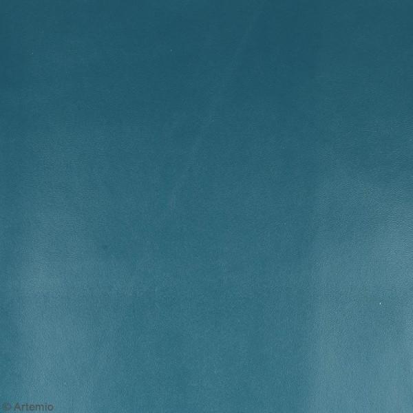 Coupon tissu Simili cuir - Bleu pétrole - 50 x 68 cm - Photo n°2