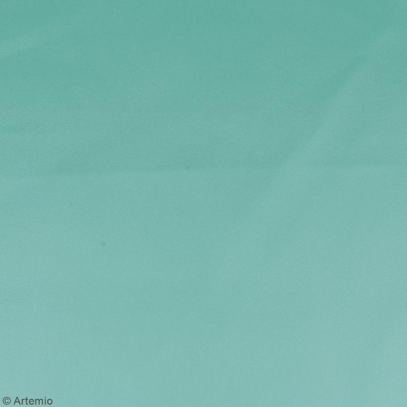 Coupon tissu Simili cuir - Bleu sarcelle - 50 x 68 cm - Photo n°2