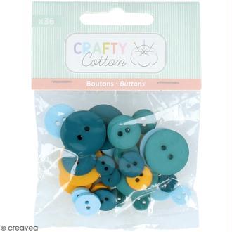 Assortiment de boutons - Différentes tailles - Bleu et ocre - 36 pcs environ