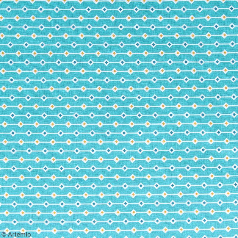 Coupon de tissu coton Crafty cotton - Losanges - Fond Bleu pétrole - 45 x 55 cm - Photo n°2