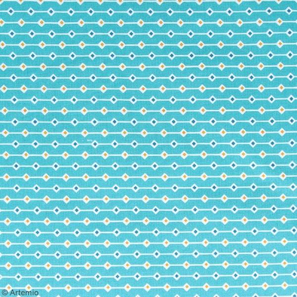 Coupon de tissu coton Crafty cotton - Losanges - Fond Bleu pétrole - 145 x 110 cm - Photo n°2