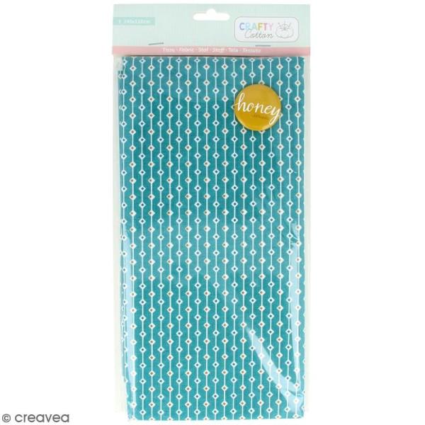Coupon de tissu coton Crafty cotton - Losanges - Fond Bleu pétrole - 145 x 110 cm - Photo n°1