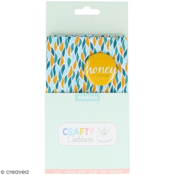 Coupon de tissu coton Crafty cotton - Flammes géométriques - Fond Blanc - 45 x 55 cm - Photo n°1