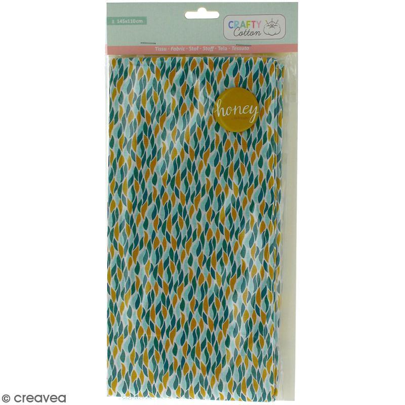 Coupon de tissu coton Crafty cotton - Flammes géométriques - Fond Blanc - 145 x 110 cm - Photo n°1