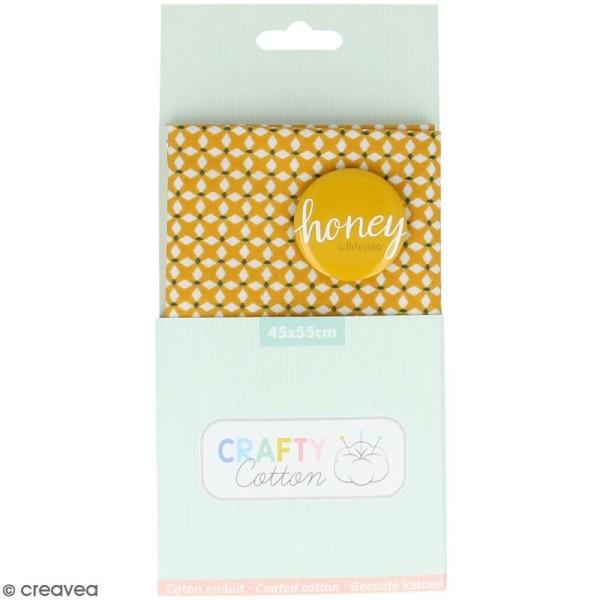 Coupon de tissu coton Crafty cotton - Losanges blancs - Fond Ocre - 45 x 55 cm - Photo n°1