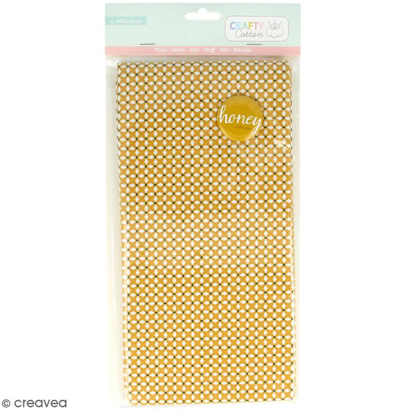 Coupon de tissu coton Crafty cotton - Losanges blancs - Fond Ocre - 145 x 110 cm - Photo n°1