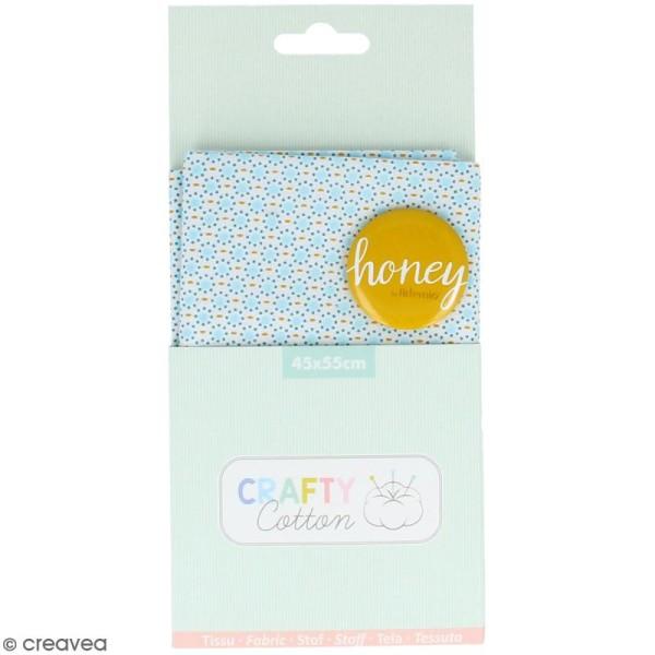 Coupon de tissu coton Crafty cotton - Ronds bleus - Fond Blanc - 45 x 55 cm - Photo n°1