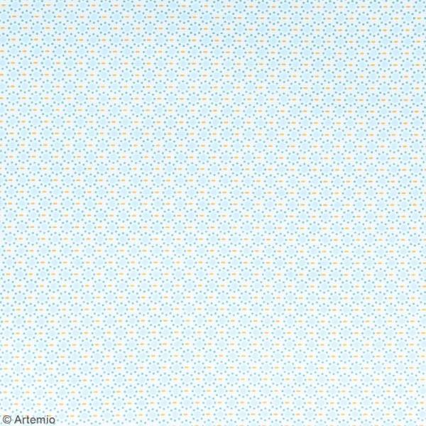 Coupon de tissu coton Crafty cotton - Ronds bleus - Fond Blanc - 145 x 110 cm - Photo n°2
