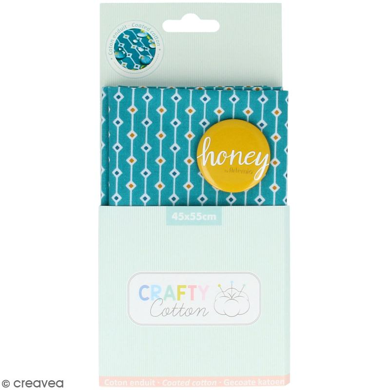 Coupon de tissu Toile cirée Crafty cotton - Losanges - Fond Bleu pétrole - 45 x 55 cm - Photo n°1