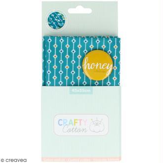 Coupon de tissu Toile cirée Crafty cotton - Losanges - Fond Bleu pétrole - 45 x 55 cm