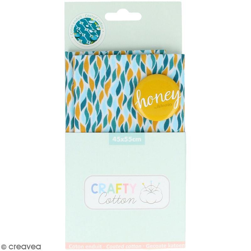 Coupon de tissu Toile cirée Crafty cotton - Flammes géométriques - Fond Blanc - 45 x 55 cm - Photo n°1