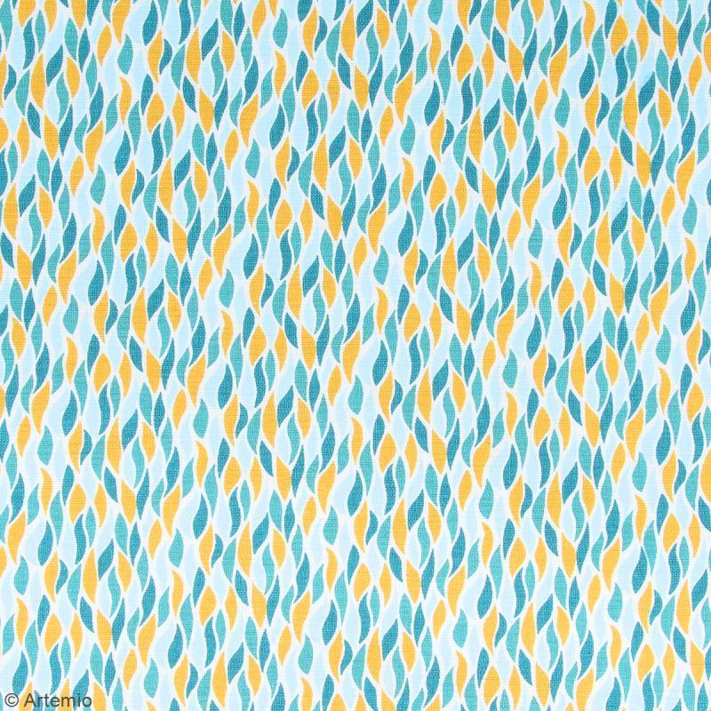 Coupon de tissu Toile cirée Crafty cotton - Flammes géométriques - Fond Blanc - 145 x 110 cm - Photo n°2