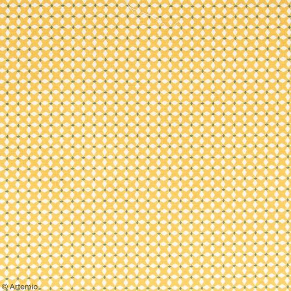 Coupon de tissu Toile cirée Crafty cotton - Losanges blancs - Fond Ocre - 45 x 55 cm - Photo n°2