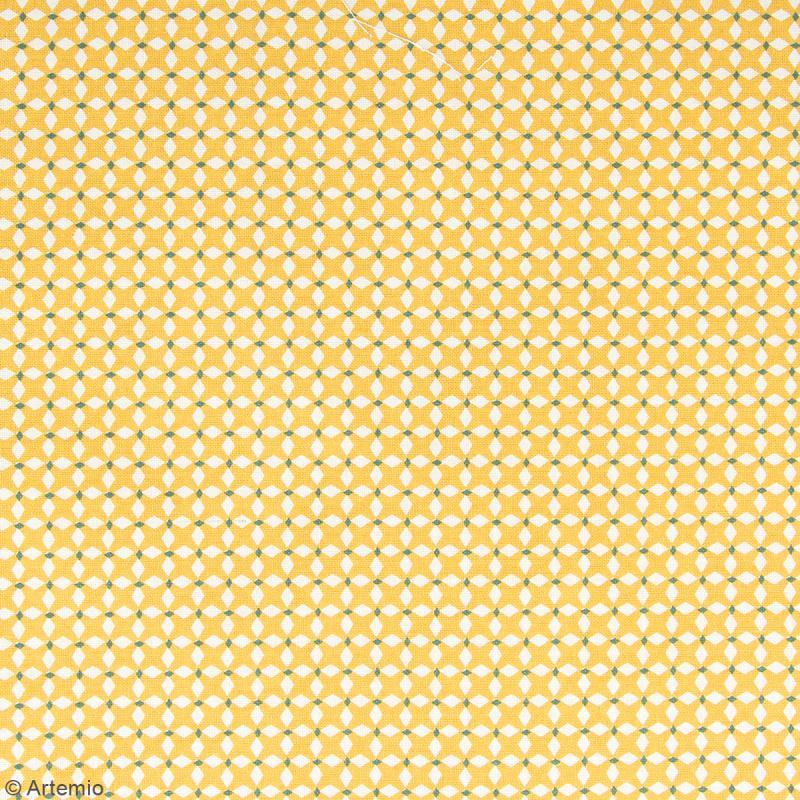 Coupon de tissu Toile cirée Crafty cotton - Losanges blancs - Fond Ocre - 145 x 110 cm - Photo n°2