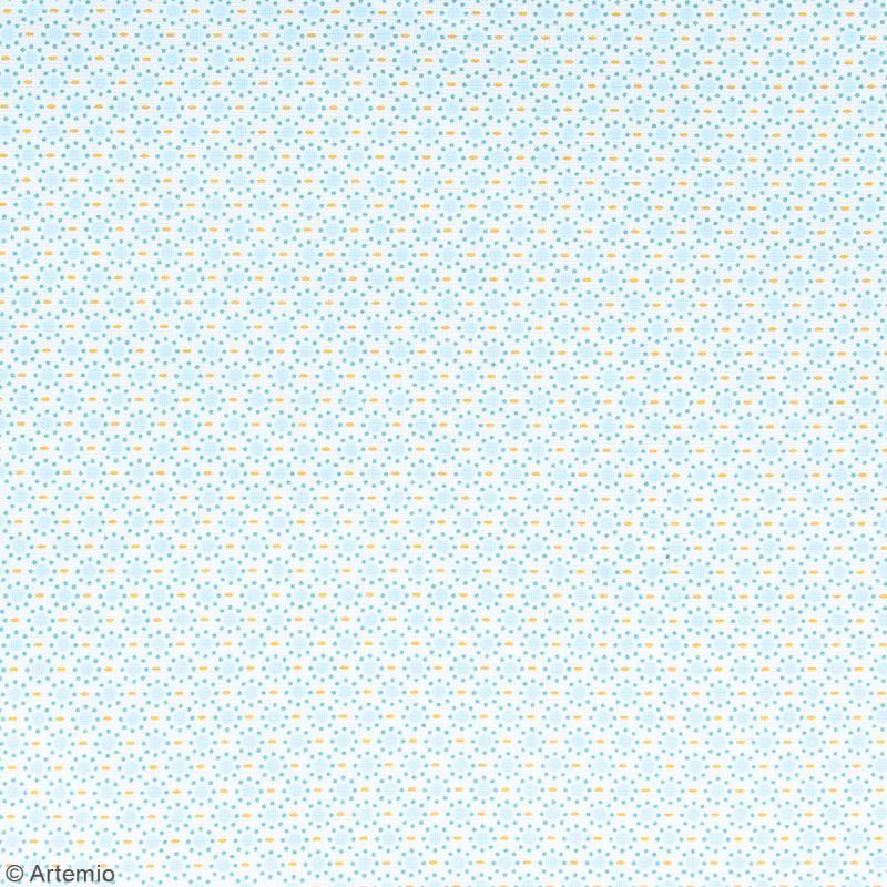 Coupon de tissu Toile cirée Crafty cotton - Ronds bleus - Fond Blanc - 45 x 55 cm - Photo n°2