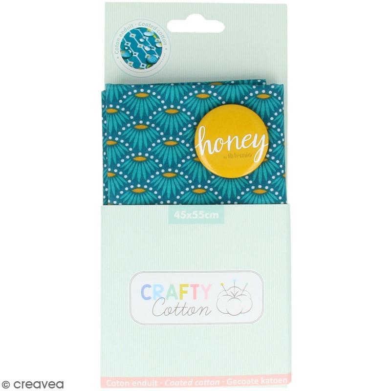 Coupon de tissu Toile cirée Crafty cotton - Fleurs géométriques - Fond Bleu pétrole - 45 x 55 cm - Photo n°1
