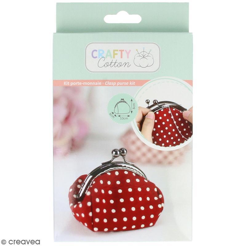 Kit couture Crafty cotton- Porte-monnaie rouge à pois blancs - 10 x 8 cm - Photo n°1