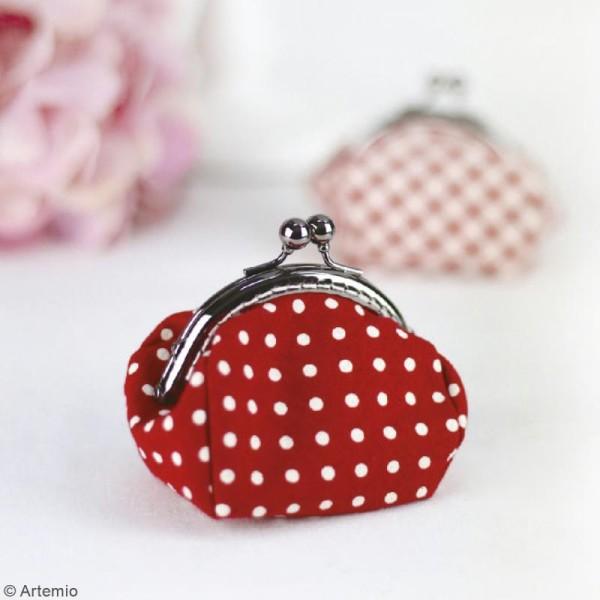 Kit couture Crafty cotton- Porte-monnaie rouge à pois blancs - 10 x 8 cm - Photo n°2