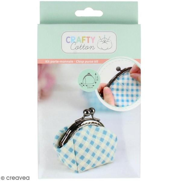 Kit couture Crafty cotton- Porte-monnaie vichy bleu - 10 x 8 cm - Photo n°1