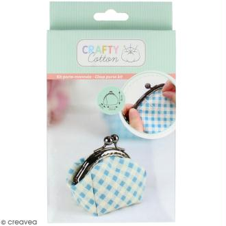 Kit couture Crafty cotton- Porte-monnaie vichy bleu - 10 x 8 cm